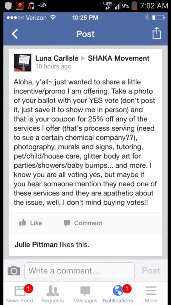 Facebook screen shot on Maui GMO vote buying