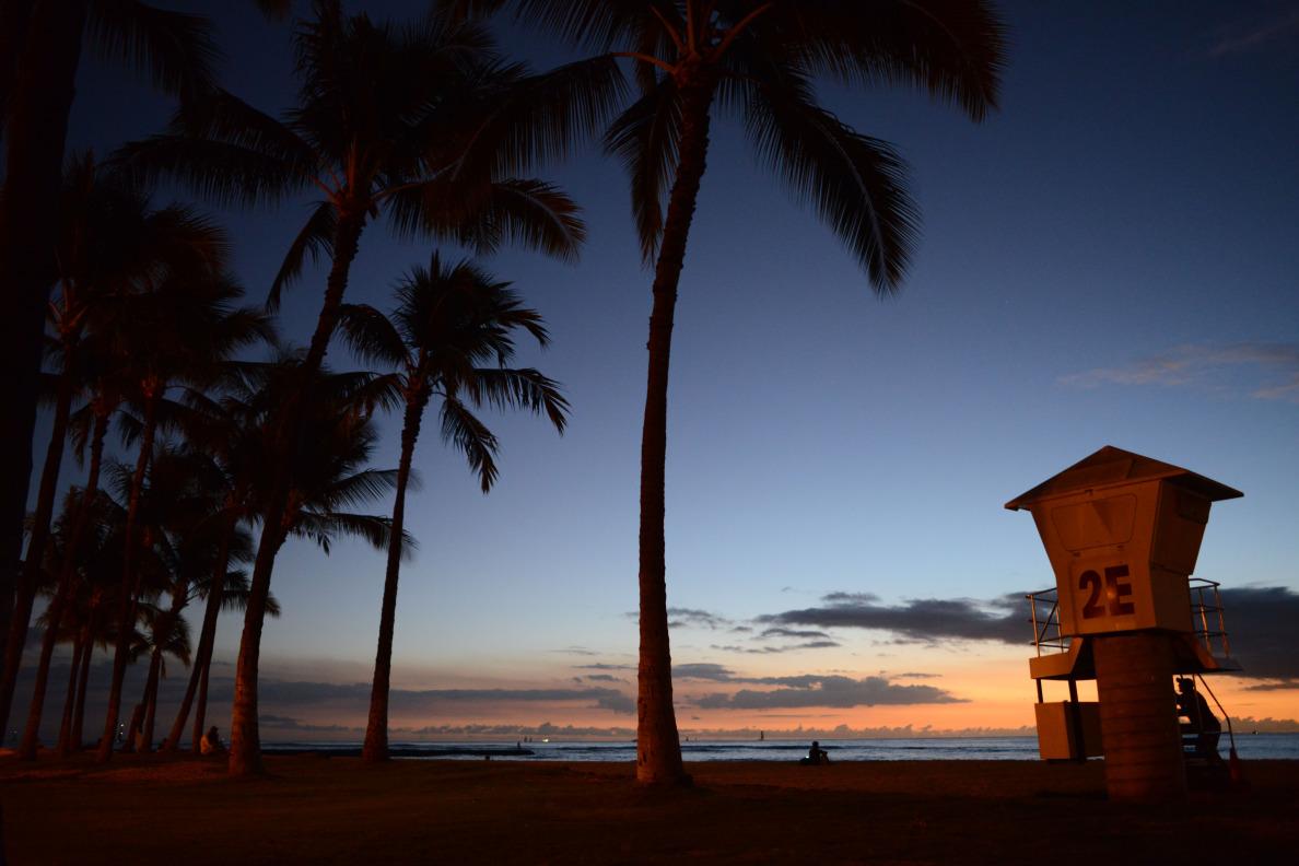 Lifeguard station 2E near Waikiki beach for Nick's Story.  7 november 2014. photograph by Cory Lum.