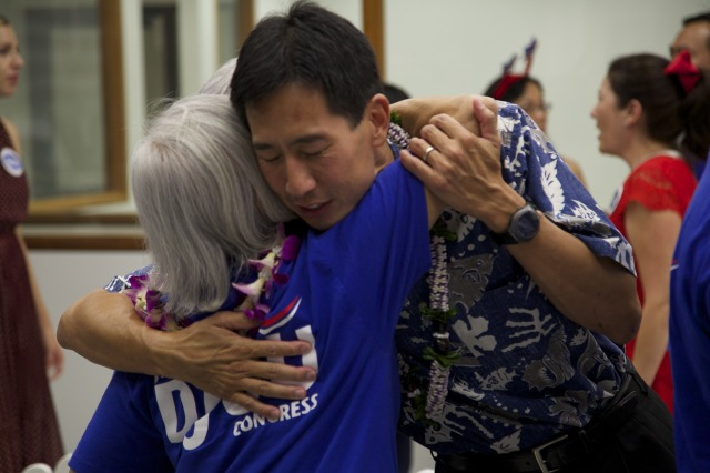 Djou with supporter