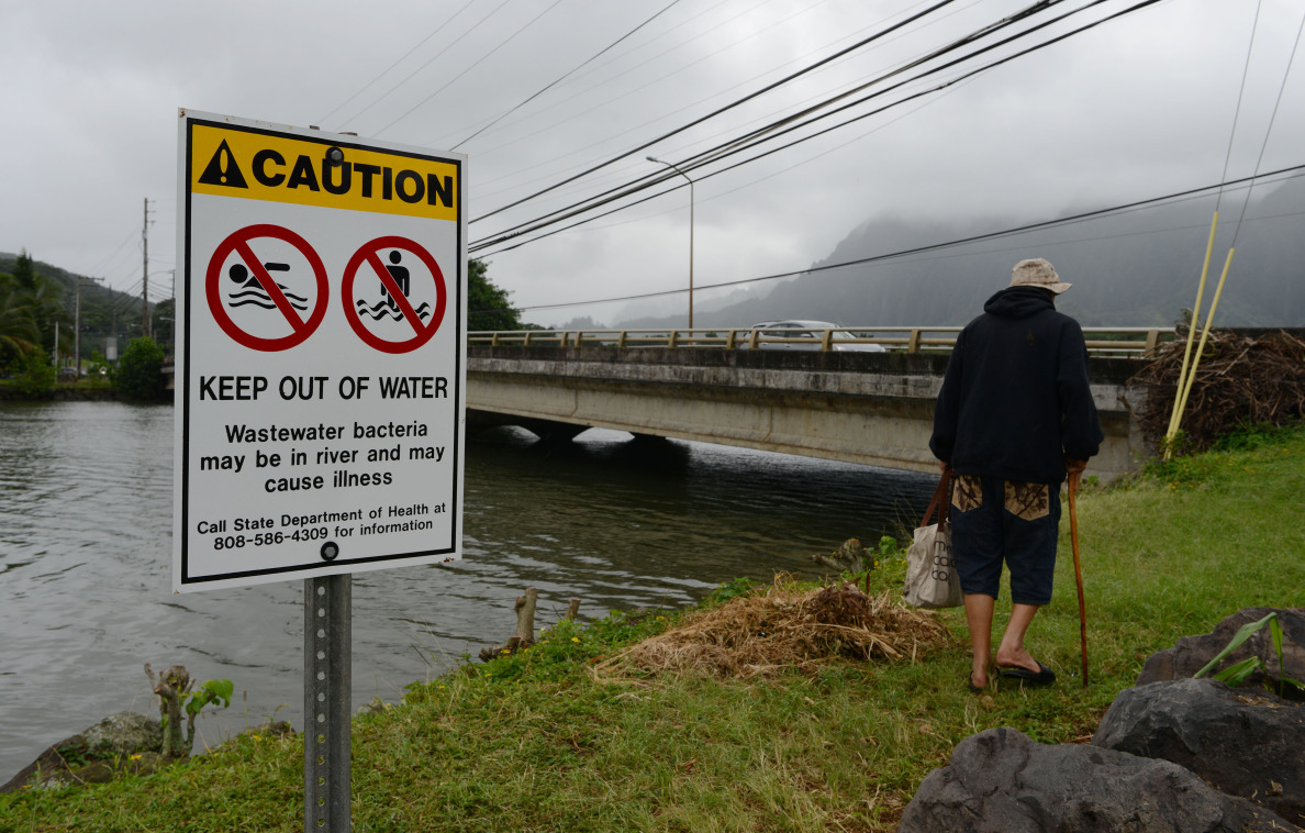 Signs warning the public to keep out of water near Kahaluu lagoon.  24 nov 2014. photo Cory Lum