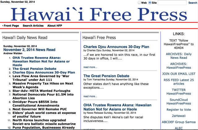 Hawaii Free Press homepage