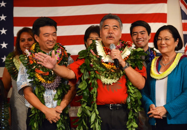 Gubernatorial candidate David Ige and running mate Shan Tsutsui with Mazie Hirono after third print out at Democratic Party of Hawaii's Democratic Coordinated Election Night Celebration held at the Japanese Cultural Center of Hawaii. 4 November 2014. photograph by Cory Lum