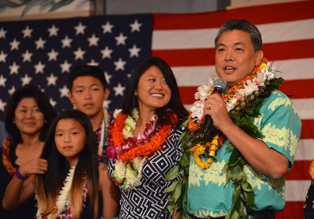 Mark Takai speaks to supporters after coming out after the third printout at the Democratic Party of Hawaii's Democratic Coordinated Election Night Celebration held at the Japanese Cultural Center of Hawaii.  4 November 2014. photograph by Cory Lum