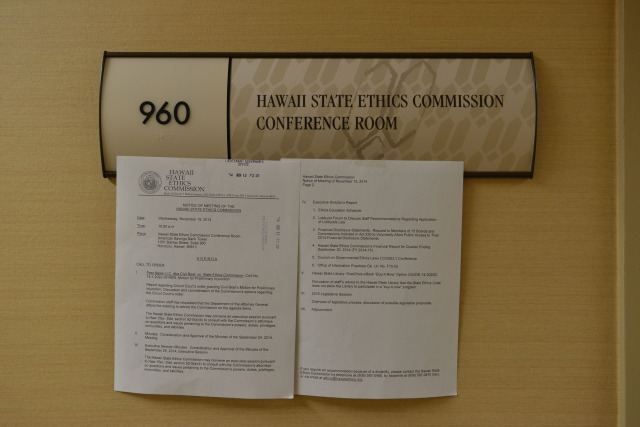 Meetings held at the Hawaii State Ethics Commission conference room.  19 nov 2014. photo Cory Lum.