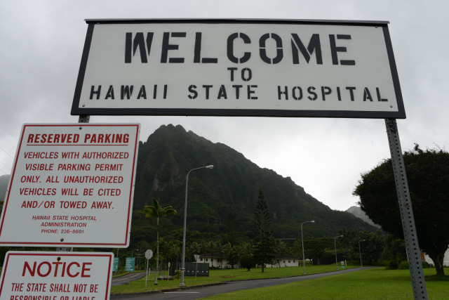Welcome sign to the Hawaii State Hospital located in Kaneohe. Hawaii. 24 nov 2014. photo Cory Lum