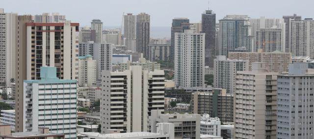 The dense concrete jungle of metropolitan Honolulu. 24 nov 2014. photograph cory Lum