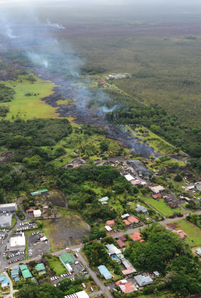 Aerial view of Pahoa town with Pahoa Road and Post Office Road on bottom of frame. 29 october 2014 . photo Cory Lum