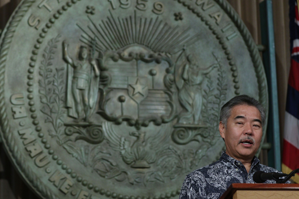 Governor David Ige gives press conference on the budget at the Capitol Building.  22dec2014. photograph Cory Lum/Civil Beat
