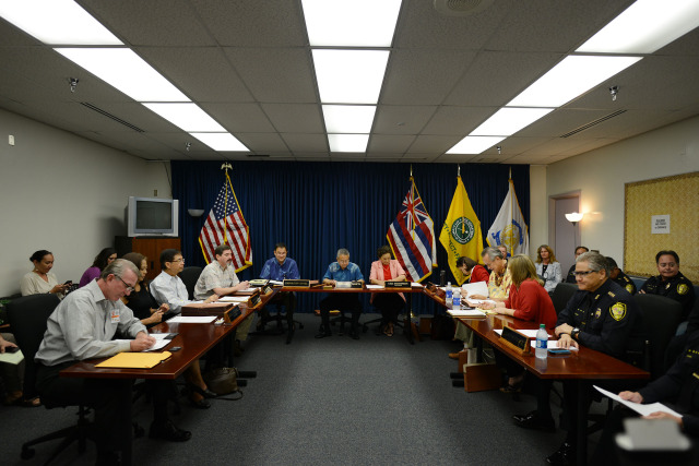 Right, Honolulu Police Department Police Chief Louis Kealoha sits in during Police Commission meeting held at HPD headquarters. 17dec2014. photograph Cory Lum/Civil Beat