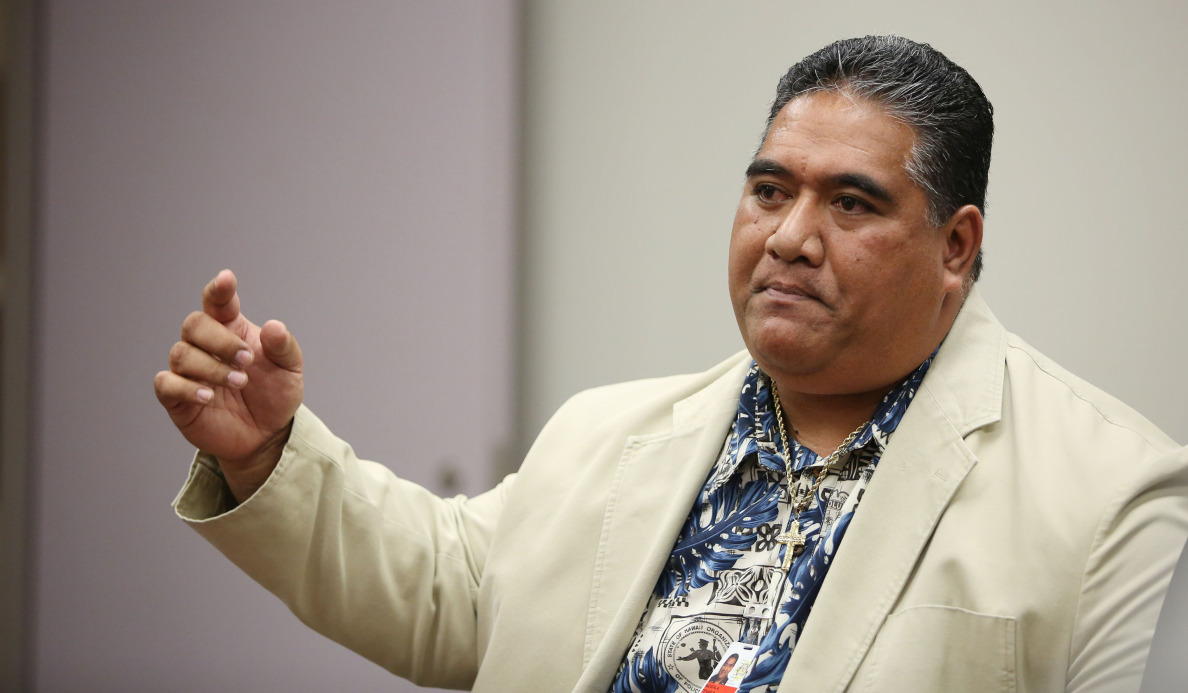 SHOPO President Tenari Ma'afala testifies on behalf of Chief Kealoha during the Honolulu Police Commission meeting held at the Honolulu Police Departments main station, conference room A. 17 dec 2014. photo Cory Lum