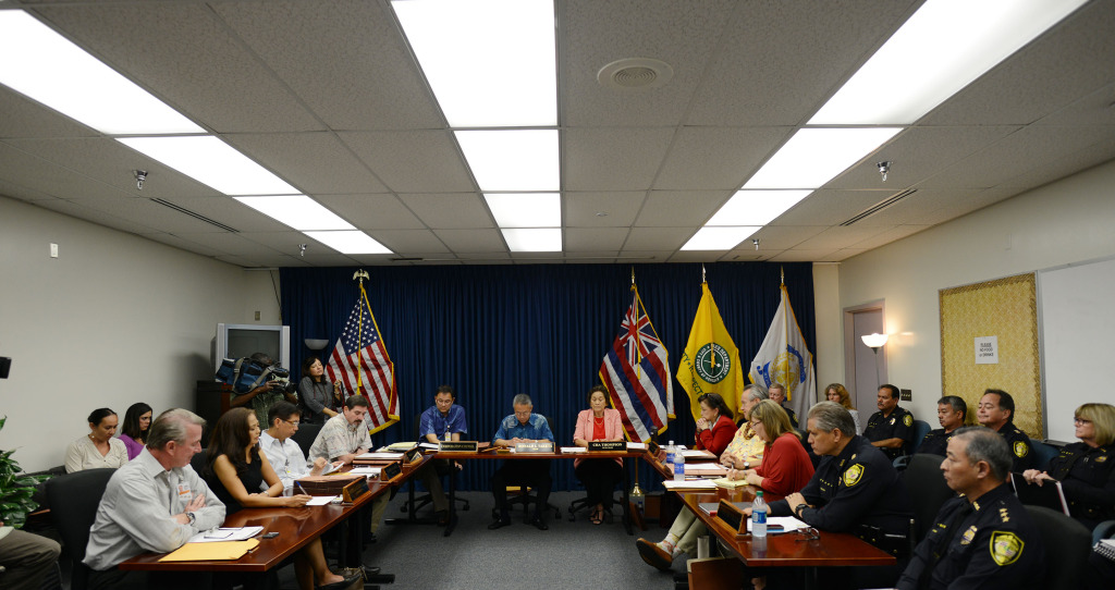 Honolulu Police commission overview photo of commissioners during meeting held at the HPD main station, conference room A. 17 dec 2014. photo Cory Lum