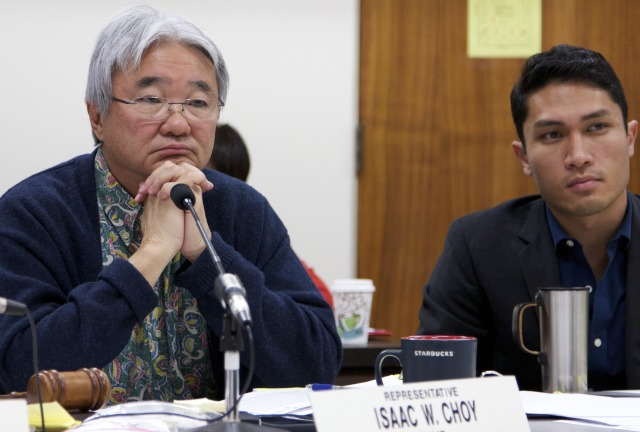 State Rep. Isaac Choy listens to testimony during a University of Hawaii budget briefing in 2014.