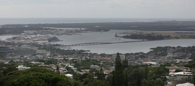 View of Pearl Harbor and Ford Island.  15 dec 2014. photograph Cory Lum
