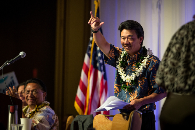 Lt. Gov. Shan Tsutsui after his speech at the Democratic Party of Hawaii State Convention. 5.24.14©PF Bentley/Civil Beat