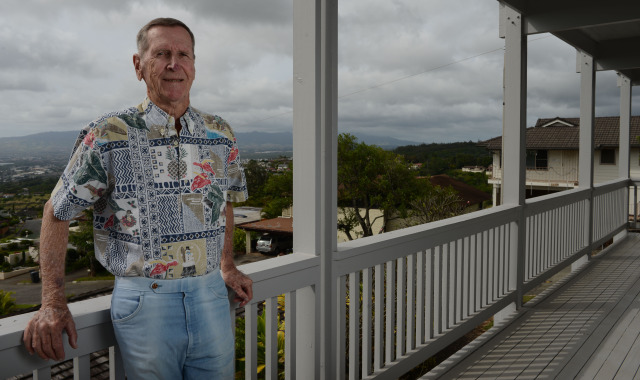 Bill Balfour portrait at his residence in Aiea. photograph Cory Lum.  15 dec 2014.