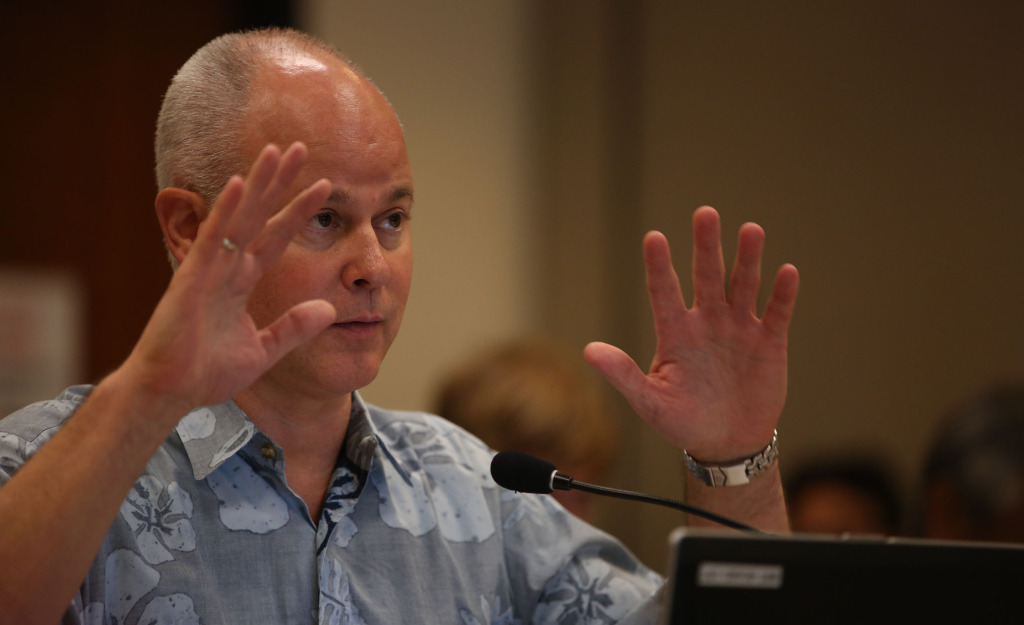 HART CEO Dan Grabauskas speaks to HART Board Members during meeting held at Kapolei Hale. 18 dec 2014. photo Cory Lum.
