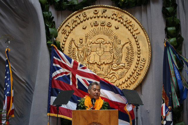Governor Ige speaks after being sworn at the Capitol.  1 dec 2014. photograph Cory Lum