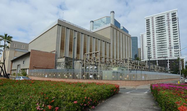 Hawaiian Electric located along Ala Moana Boulevard/Downtown. 15 jan 2015. photograph Cory Lum/Civil Beat