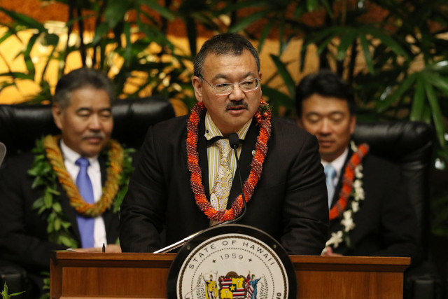 Vice Speaker of the House Representatives John Mizuno at Governor Ige's State of the State ceremonies . 26 jan 2015. photograph Cory Lum/Civil Beat