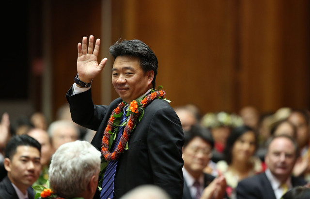 Lt. Governor Shan Tsutsui waves to gallery in the House of Representatives on 2015 opening day of the legislature at the State Capitol. 21 jan 2015. photograph Cory Lum/Civil Beat