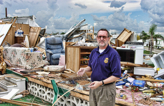 Mobile home park in Florida after the passage of Hurricane Charley