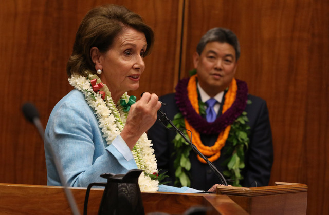 Minority Leader of the United States House of Representatives Nancy Pelosi speaks after Representative Mark Takai took his oath of office at the Federal Court . 16 jan 2015