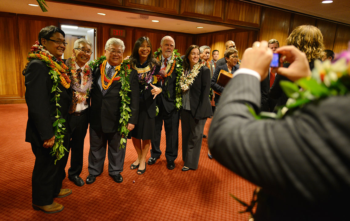 Big Island lawmakers pose for a photo before the Legislature convenes its 2015 session at the Capitol on Jan. 21.