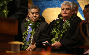 Governor David Ige enjoys opening ceremonies at the senate at the State Capitol.  21 Jan 2015 . photograph Cory Lum/Civil Beat