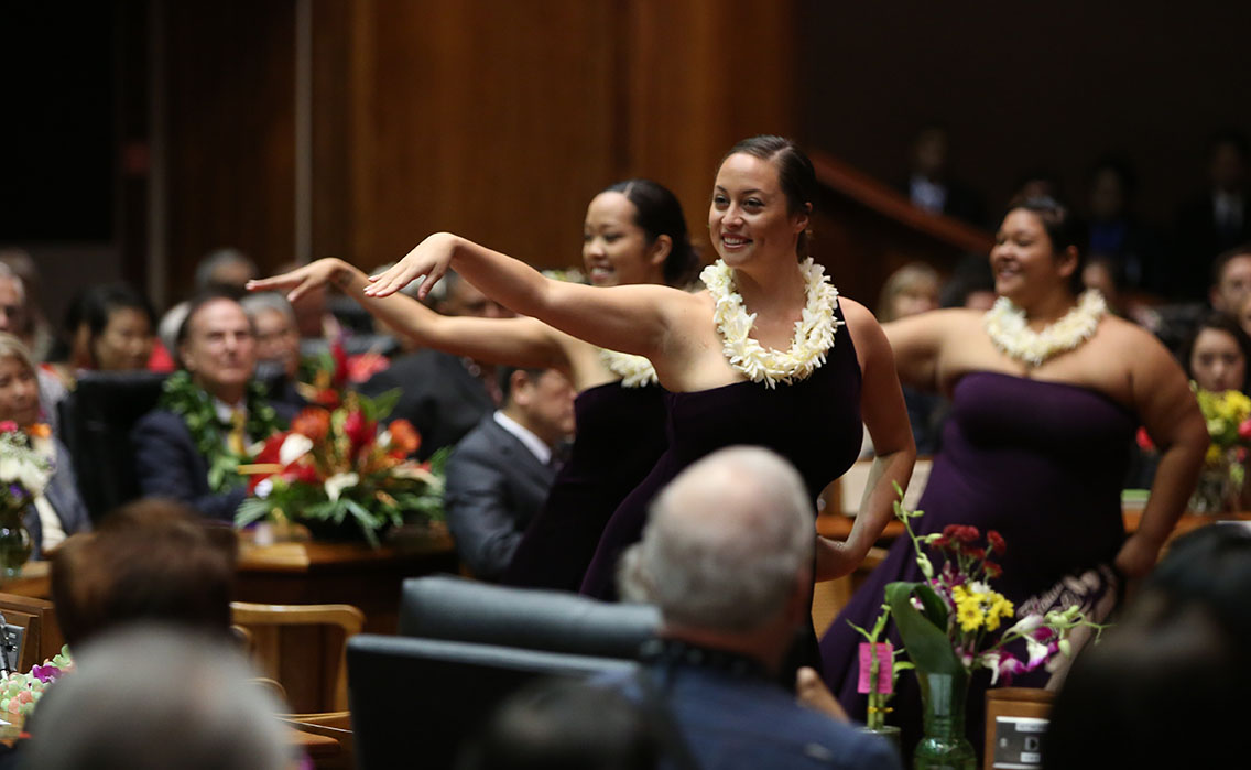 Hula dancers perform in the House chambers during Opening Day ceremonies.