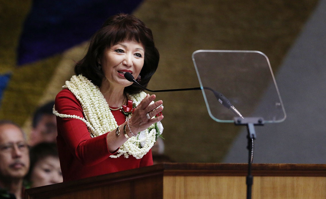 Senate President Donna Kim delivers her Opening Day address, in which she called for the elimination of the state Land Use Commission.