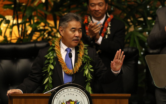 January 2015: Ige gives his state of states address.