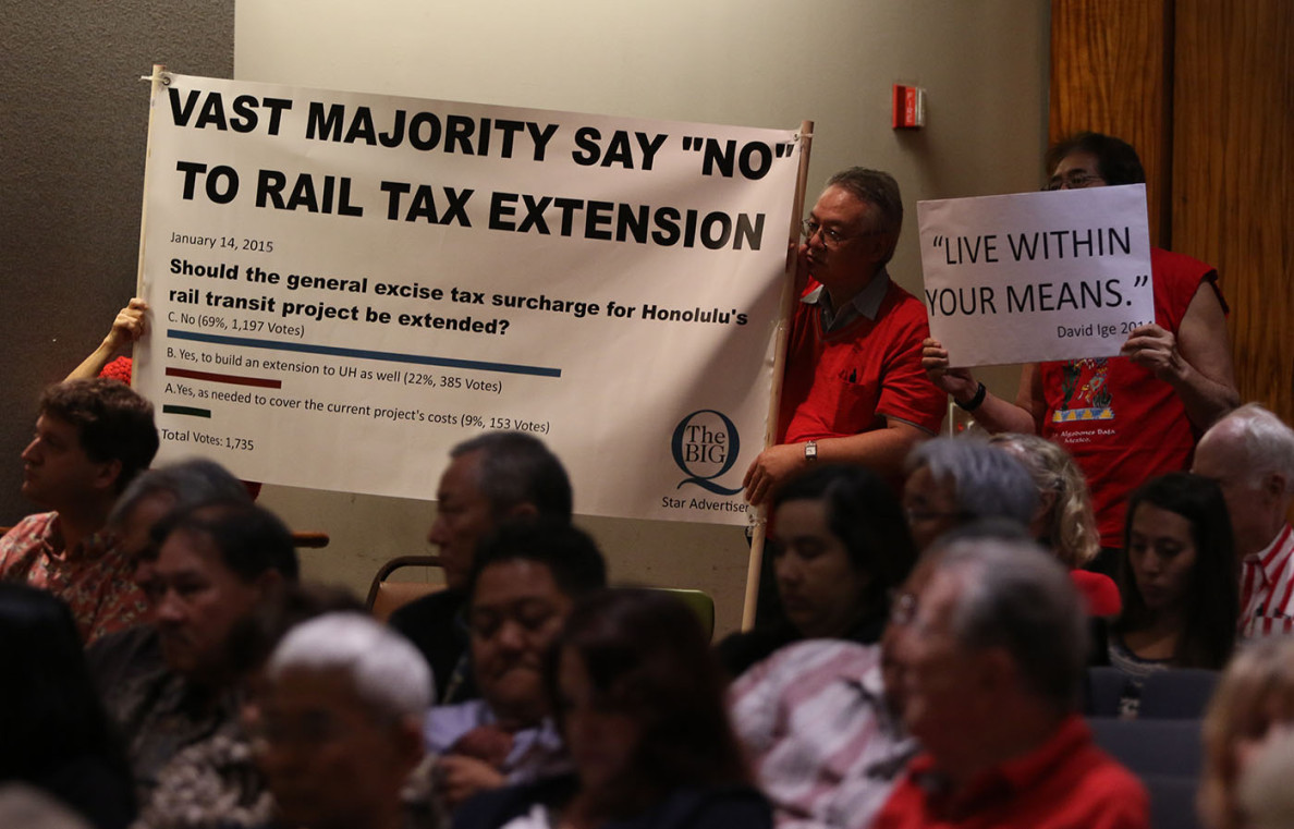 Protestors hold up signs to oppose Mayor Kirk Caldwell's request to extend a GET surcharge to cover a rail construction cost overrun that is nearing $1 billion.