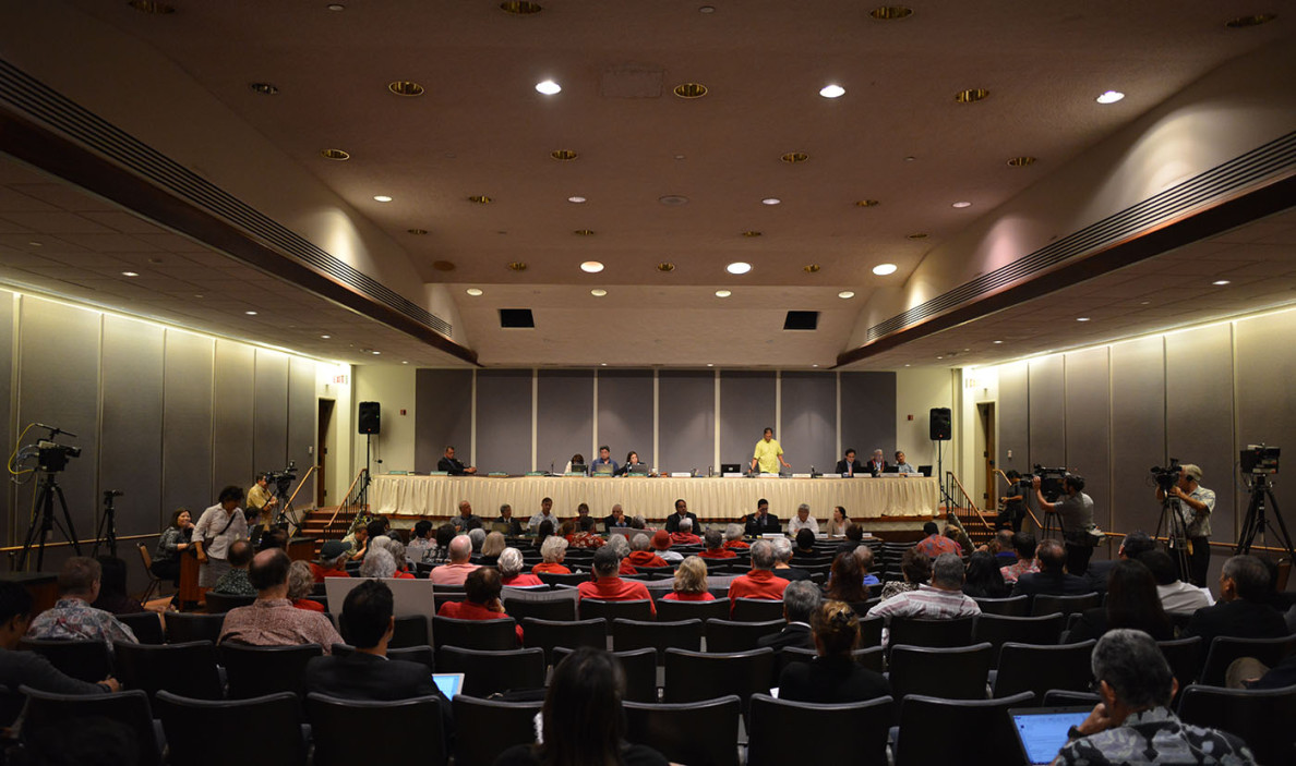 A few hours later in the Capitol auditorium, legislative money committee members prepare to hear from Hawaii's mayors about their hopes and dreams for General Excise Tax revenue.