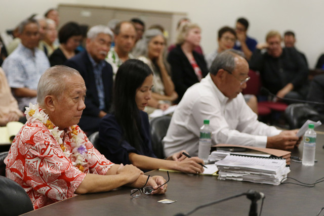 Calvin Say sits as Attorney Bert Kobayashi answers questions from special committee.  13 feb 2015. photograph Cory Lum/Civil Beat