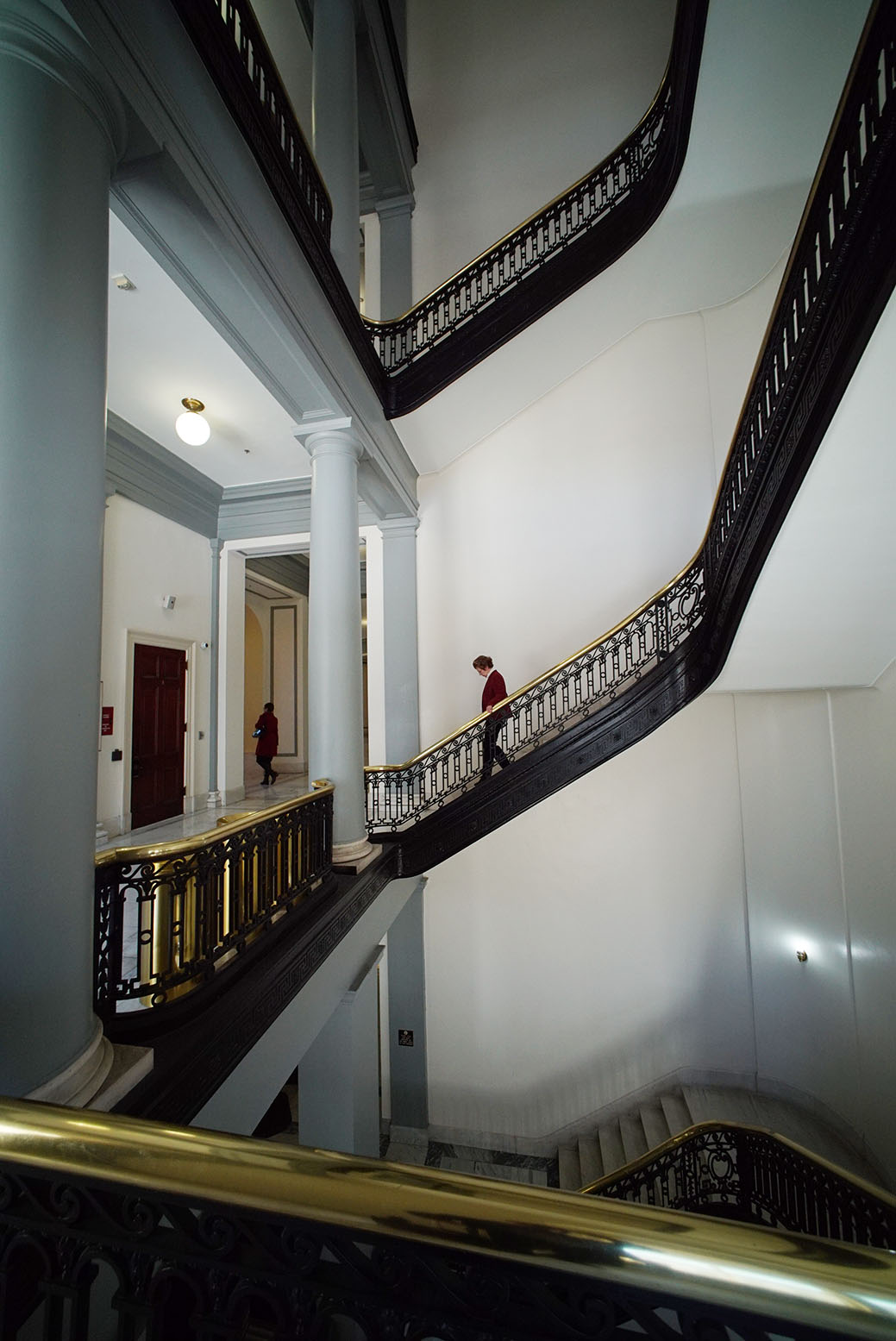Some folks prefer using the stately stairs in the Cannon House Office Building.