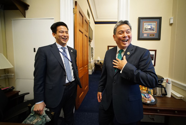 Congressman Mark Takai with left, Deputy Communications Director Alex Hetherington. washington DC. 23feb 2015. photograph Cory Lum/Civil Beat