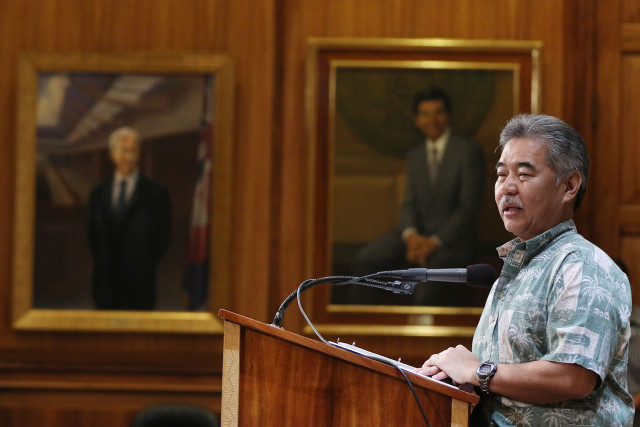 Governor David Ige speaks to media during press conference at the Capitol.  12 feb 2015. photograph Cory Lum/Civil Beat