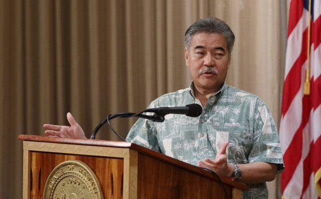 Governor David Ige enters press conference held at his office.  12 feb 2015. photograph Cory Lum/Civil Beat