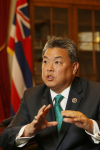 Congressman Mark Takai in interview with Chad. 24 feb 2015. photograph Cory Lum/Civil Beat
