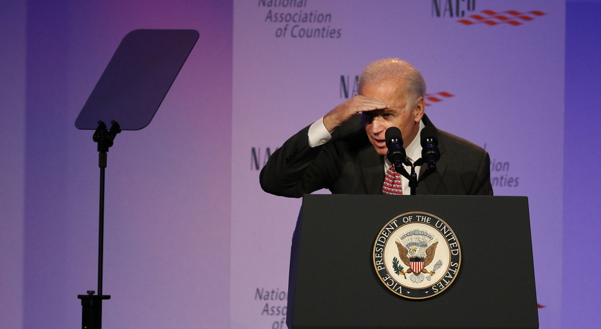 Vice President Joe Biden scans the audience for officials from his home state of Delaware during a National Association of Counties event attended by several Hawaii officials Monday.