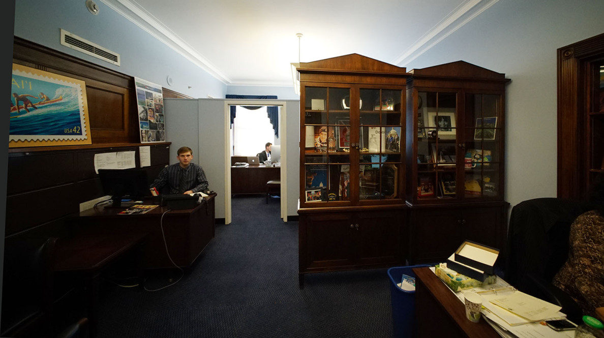 Civil Beat's reporter and photographer visited Rep. Tulsi Gabbard's office Tuesday, but were not given the opportunity to speak with either the congresswoman or her new chief of staff, Kainoa Penaroza.
