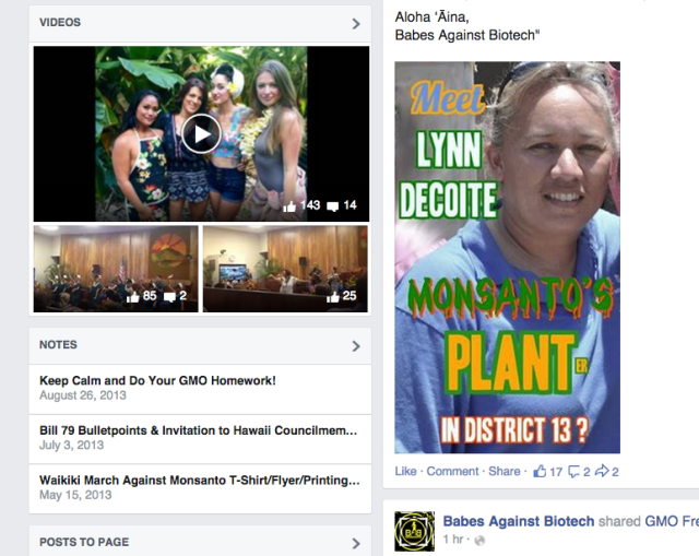 Babes Against Biotech Facebook screen shot