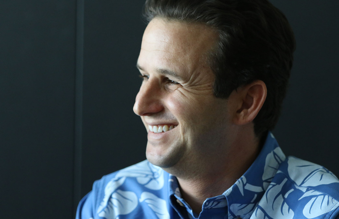 U.S. Sen. Brian Schatz speaks to Civil Beat Editorial Board members and reporters Tuesday. He said he's watching over federal funding for the over-budget Honolulu rail project, but local officials will have to find any additional revenue.