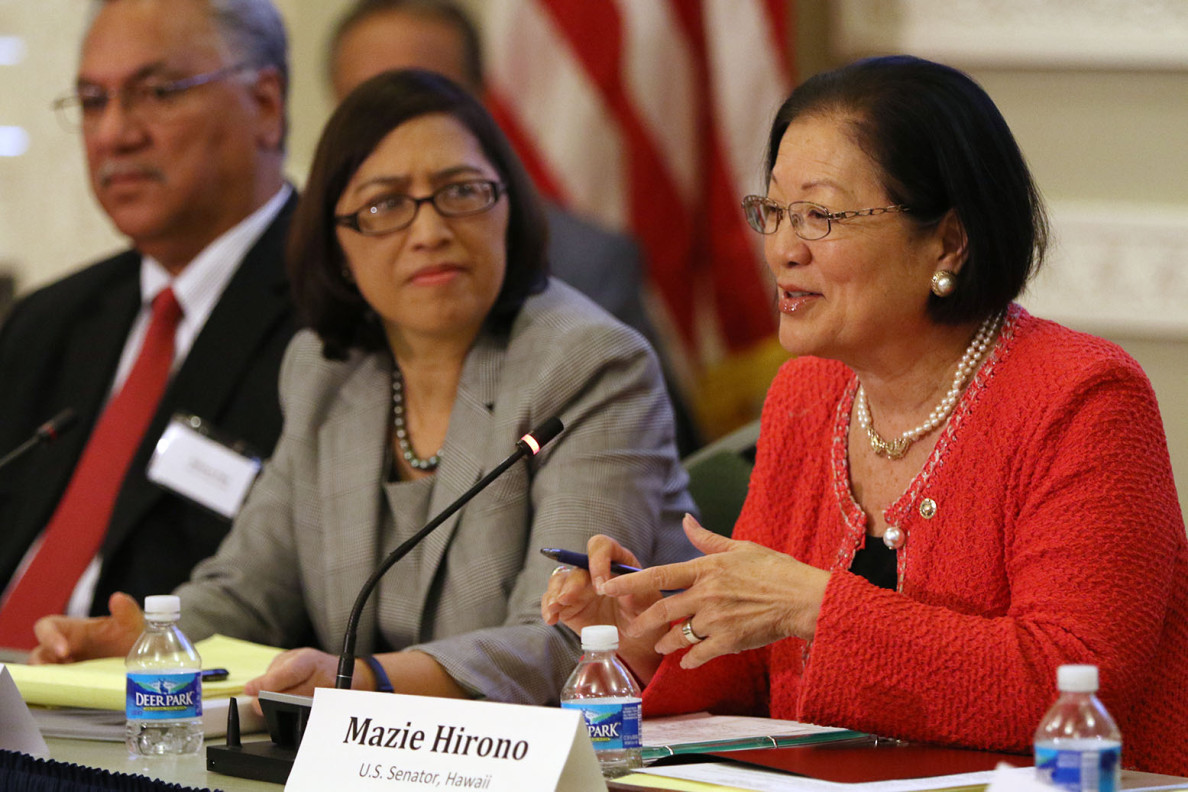 U.S. Sen. Mazie Hirono of Hawaii, right, speaks Tuesday during an Interagency Group on Insular Areas event as Esther Kia'aina, assistant secretary for insular affairs, listens. Topics affecting U.S. territories  and the Federated States of Micronesia, among others, were discussed.