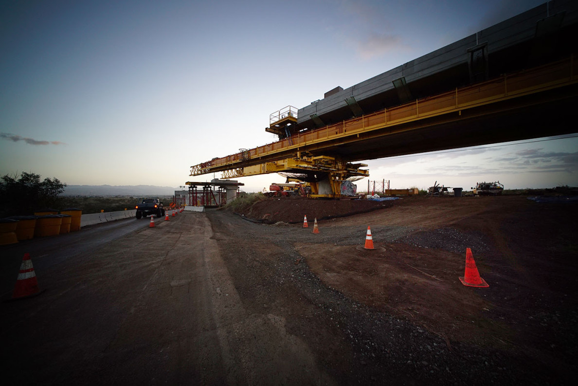 Early sunlight in Kapolei bathes a portion of the guideway for the Honolulu rail system as it approaches Farrington Highway.