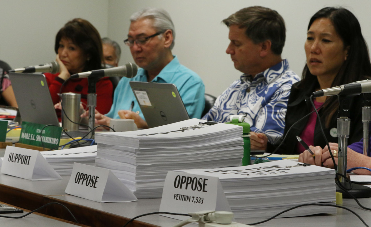Testimony opposing and supporting the nomination of Carleton Ching to head the state Department of Land and Natural Resources is piled up at a Senate confirmation hearing.