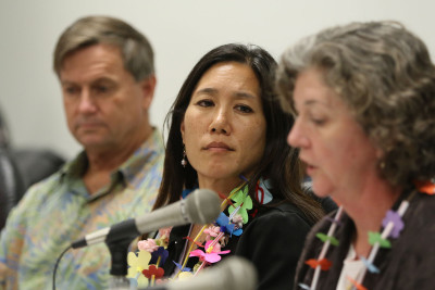 Senator Maile Shimabukuro looks to Chair Laura Thielen during DLNR candidate Carleton Ching's confirmation hearing at the Capitol. 12 march 2015. photograph Cory Lum/Civil Beat