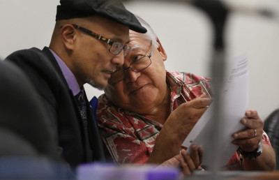 Transportation Chairs, Senator Will Espero and right, Chair/Senator Clarence Nishihara during hearings at the capitol.  19 march 2015. photograph Cory Lum/Civil Beat