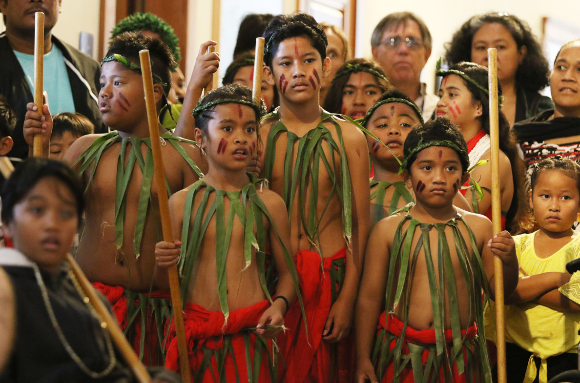 Dancers from the Pacific Voices group wait to perform at Celebrate Micronesia.