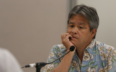 Chair Representative Roy Takumi during education hearing. 16 march 2015. photograph Cory Lum/Civil Beat